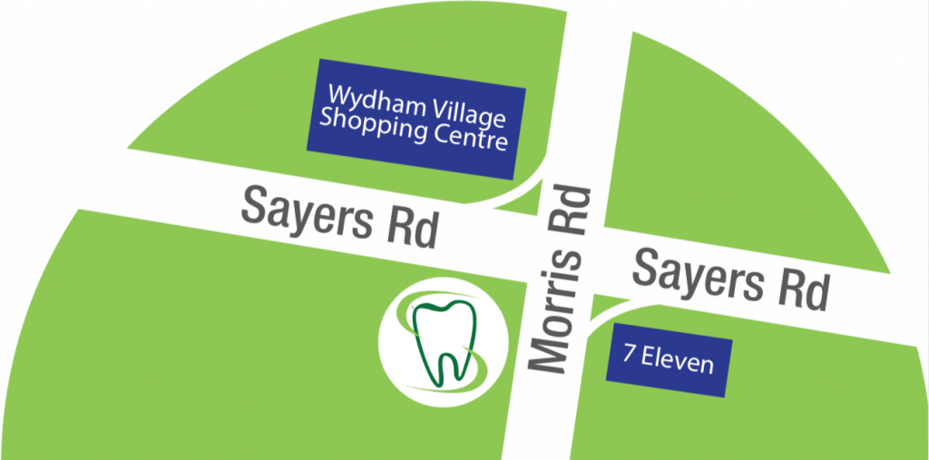 Wyndham Smile Care is located at the intersection of Sayers Road and Morris Road in Hoppers Crossing, right Opposite Wyndham Village Shopping Centre.
